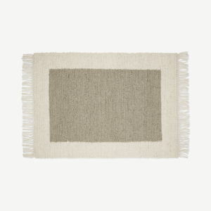 Canley Textured Wool Border Rug, Large 160 x 230cm, Ecru & Taupe