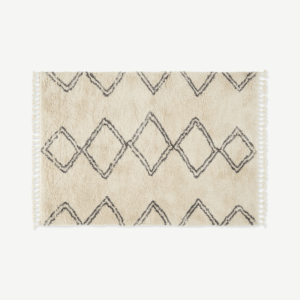 Caram Berber Style Rug, Extra Large 200 x 300cm, Off White & Charcoal Grey