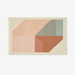 Firth Cotton Flatweave Rug, Large 160 x 230cm, Pink & Terracotta