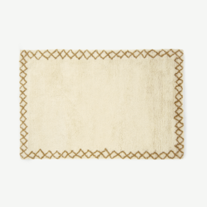 Heijer Washed Shaggy 100% Wool Rug, Large 160 x 230 cm, Off-White & Tan