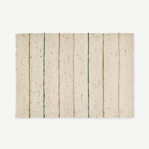 Tomillo Striped Wool Rug, Large 160 x 230cm, Natural
